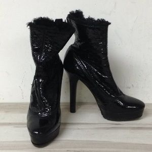 Jimmy Choo Black Patent Leather Platform Boot 38